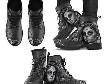 Sugar Skull Boots,Sugar Skull Shoes,Day of The Dead,Sugar Skull Leather Boots,Calavera Boots,Women Boots,Eco Leather Boots,FREE Shipping
