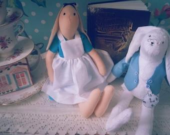 Alice in Wonderland Tilda style Bunny Figurines/Dolls/Decorations