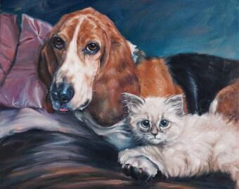 """BestPaws custom Pet Portrait oil painting, Cat painting, Dog painting, 16x20"""" 2-pets"""