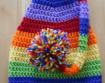 Rainbow Stocking Hat Elf Hat, Gay pride hat, gay marriage equality, LGBT, crochet photo prop, 12 month to 4T sizes available, rainbow