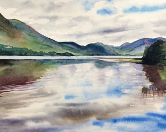 Lake District, Crummock Water, landscape painting, mountain lake, landscape watercolor, English countryside, Cumbria, English landscape