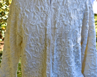 1950s Vintage Heavily Beaded Cardigan Lambswool Sweater, Sz Small