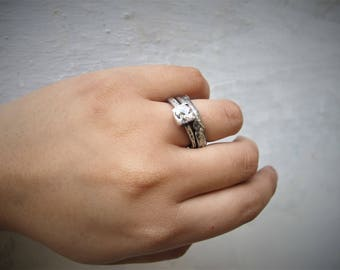 Organico Sterling silver strong organic ring with 6mm CZ - Raw art- Metalwork - Made to order in your size  - Primitive Design - Solid ring