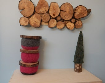 Lidded Wool Bowls - Set of 3:  pink, grey, black
