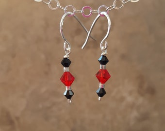 Black & Red Swarovski Crystals with Sterling Silver - Free Shipping