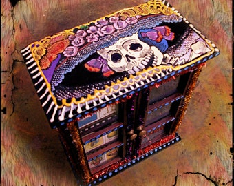 DAY of the DEAD Loteria Mexican-Inspired Folk Art Handpainted Jewelry Cabinet