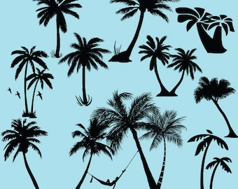 Palm tree svg clipart silhouette - Palm trees  vector digital download clipart svg, dxf, eps, png