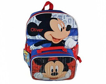 Personalized Licensed Mickey Mouse Backpack with Detachable Lunch Kit - 16 Inch