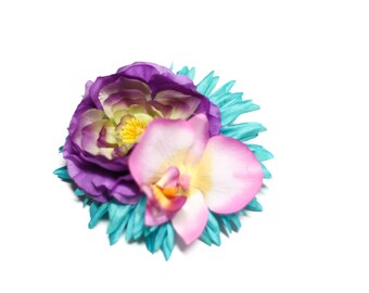 Turquoise Gerbera Daisy, Purple Peony, and Pink Orchid Pinup Hair Flower Fascinator Clip