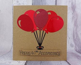 40th anniversary card, Ruby wedding anniversary card, Handmade anniversary card for a couple, Balloons anniversary card, Card for couple