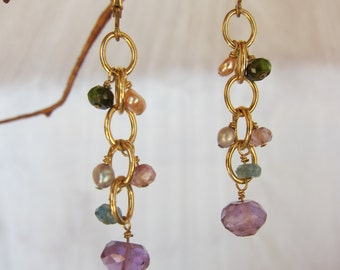 Purple Amethyst, Tourmaline, Pearl 14K Gold Filled Handmade Earrings