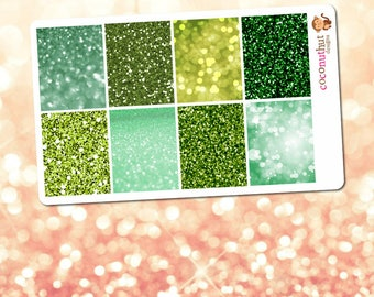 December / Green Bokeh Full Box Planner Stickers (Erin Condren Life Planner Monthly Colors)