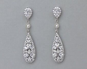 Crystal Teardrop Pearl Earrings, Bridal earrings, Crystal & Pearl Wedding Earrings, CLIP ON Earring Option, Bridal Jewelry, RITA rp