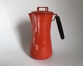 Mid Century Modern Italian Milanoware Orange Enamelware Teapot / Carafe / Kettle by Lantoni - Made in Italy