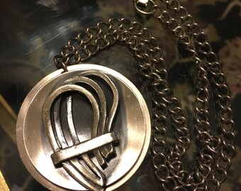 Abstract Mid Century MODERN Necklace, Vintage 60's Silvertone PENDANT