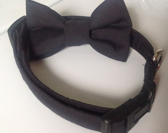 Black Wedding and Formal Wear Dog or Cat Collar with Available Matching Bow Tie