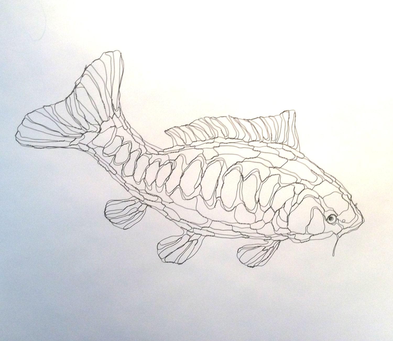 Draht Skulptur 2D Koi-Karpfen Teichfisch: Draht-Wand-Kunst