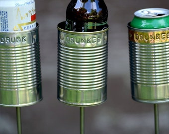 Drunk, Drunker, Drunkest-- 3 Hobo Tin Can Beer Holders