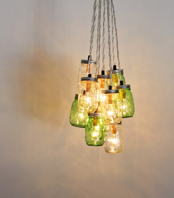 Mason Jar Chandelier: MASON JAR CHANDELIER Cluster Upcycled Hanging Chandelier