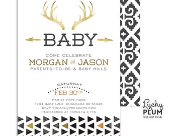 Deer Baby Shower Invite / Couples Baby Shower Invitation / Bohemian Feather Invite / Neutral Baby Shower Invite / Gold Baby Shower Invite