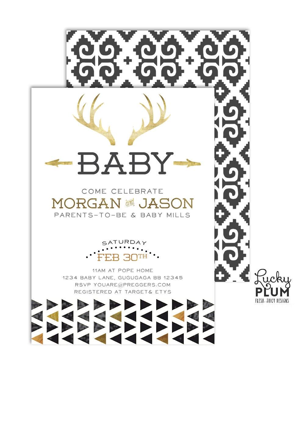 Deer Baby Shower Invite / Couples Baby Shower Invitation /