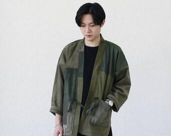 Army Green Patchwork Corduroy Kimono
