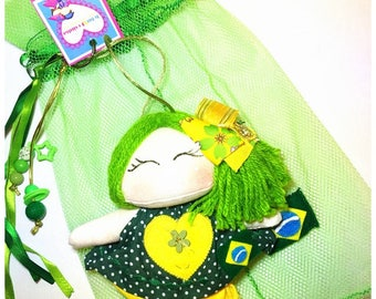 Brazil handmade green doll purseclip backback World cup