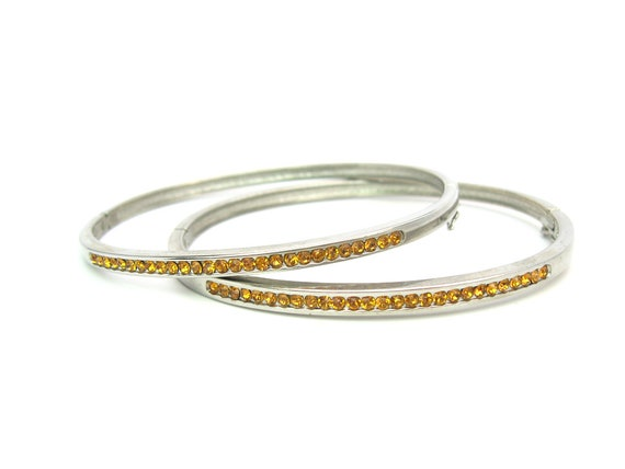 Vintage Topaz Rhinestone Silver Tone Bangle Bracelets Set of 2