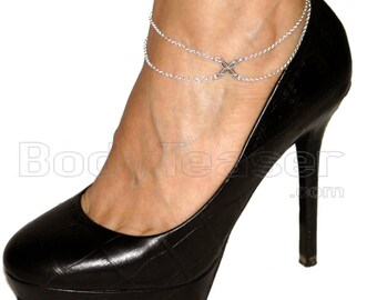 Silver flower anklet, double chains