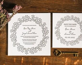 Letterpress Wedding Invitations, Modern, Traditional, Wreath, Arlise sample
