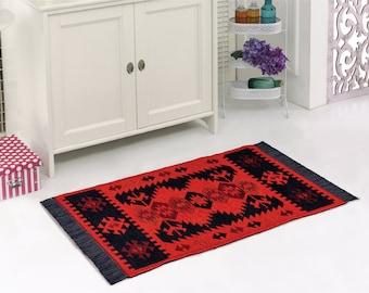 Modern Bohemian Style Area Rug,Kilim, Perfect for Kitchen,Corridor, Living Room, Bathroom, 60x120 cm, 2x4 feet (Black-Orange)