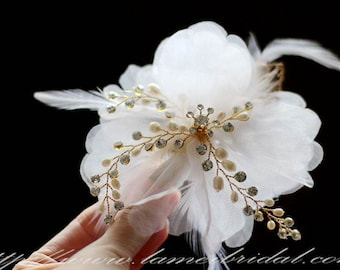 Ivory White hand cut Organza Flower Wedding Bridal Hair Clip Accessory - Wedding hair flower with gold leaf and pearl