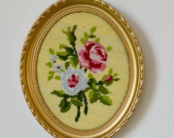 frame oval gold, small tapestry flowers on ecru background, frame, embroidery, flowers