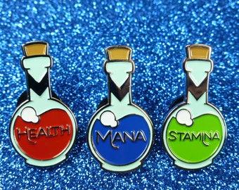 Mana, Health, Stamina Potion Pin Badge | Enamel Pin Badge | Soft Enamel Badge | Video Game Pin Badge