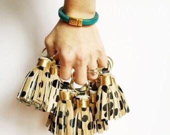 The Original Mini Cheetah Print Tassel Keychain ~ Leather Tassel, Leopard Print, Animal Print, Hair on Hide, Calf Hair, Bag accessory