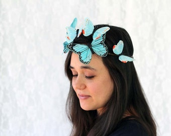 Blue Pastel Butterfly Crown - bridal shower, baby shower, fairy, bride, wedding, something blue, bridesmaid
