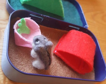 Felt hamster and habitat in a mint tin