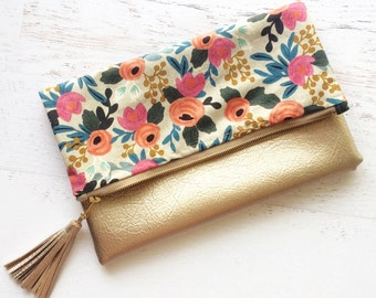 Floral Rifle Paper Co Canvas & Metallic Gold Faux Leather Foldover Clutch - Gift for her, Birthday, Anniversary, Bridesmaid
