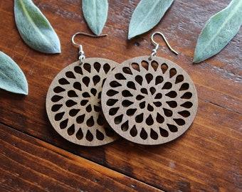 Wooden Rain Drop Earrings