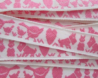 3 Yards Vintage Scotties Hearts Ducks Trim Jacquard Ribbon White With Pink VT 131