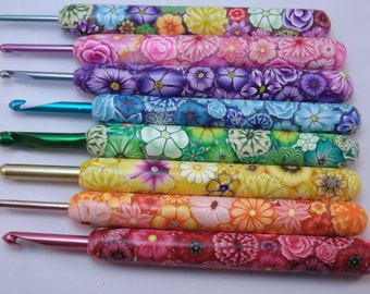 YOUR CHOICE Size/Brand Ergonomic Extra Long Handle Polymer Clay Covered Crochet Hook Handcrafted Colorful Millefiori Floral