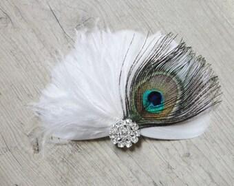 Vintage White Peacock feather hair fascinator bridal wedding jewelry