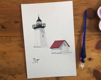 """FINE ART """"Woods End Lighthouse"""" in Provincetown, limited edition Giclee Print from watercolor illustration"""