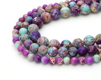 "Galaxy Sea Sediment Jasper Beads 4mm 6mm 8mm 10mm Regalite Round Imperial Impression Stone, 15.5"" Full Strand, Wholesale"