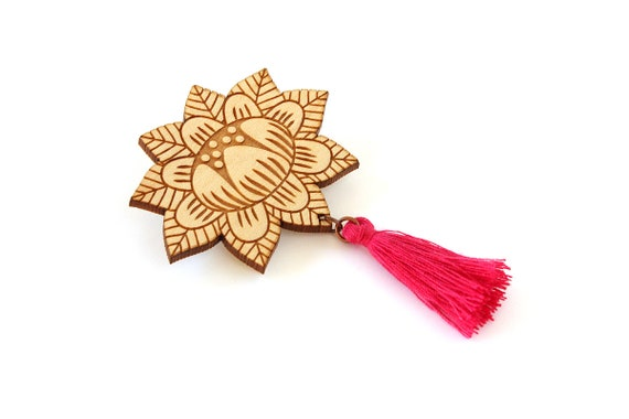 Flower brooch with tassel - fuchsia - wooden floral pin - stylized vegetal jewelry - folk jewellery - lasercut wood accessory