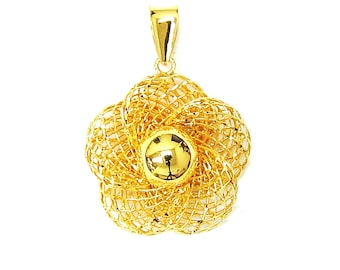 Limited Edition - 18K 21K 22K Yellow Gold Flower Pendant Necklace Stunning Jewelry for Her