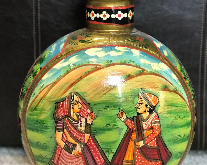 Hand painted metal vase from India, stand alone pot home decor, cultural educational vase with painting of man woman in picturesque setting