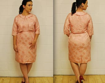 1960's Sparkly Bubble Gum Pink Brocade Jacket and Dress Set / Jackie Kennedy / Mad Men / Rare Collectable Retro