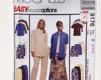 McCall's 9176, Women's Tunic, Top, Pants, Shorts, Skirt Pattern, Easy Pattern, Size 8, 10, 12, Uncut Pattern