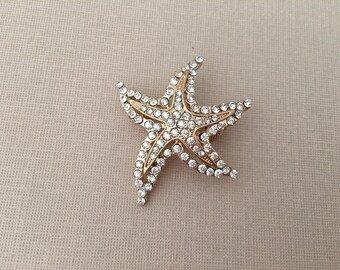 Starfish Wedding Brooch.Gold Starfish Brooch.Starfish Brooch.Starfish Broach.beach wedding.crystal.rhinestone.bridal accessory.Starfish Pin